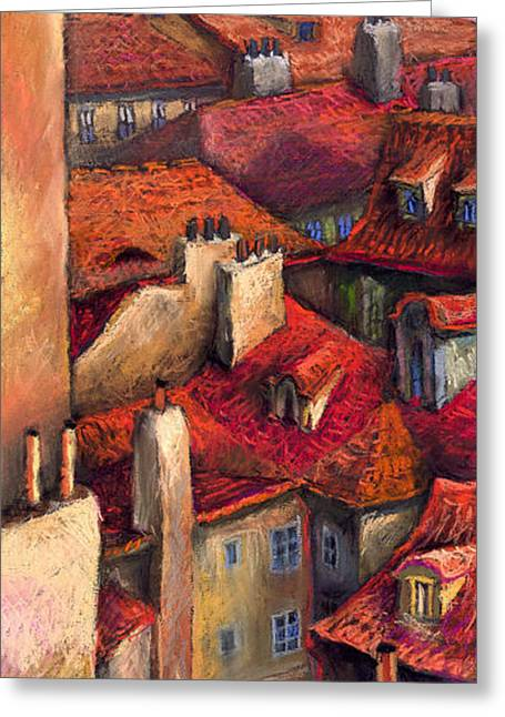 Czech Greeting Cards - Prague Roofs Greeting Card by Yuriy  Shevchuk
