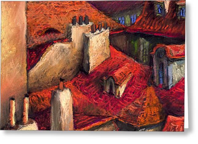 Prague Roofs Greeting Card by Yuriy  Shevchuk