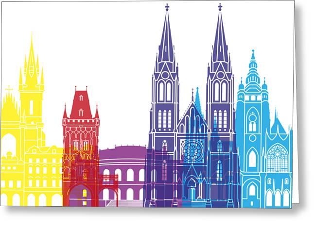 Prague Paintings Greeting Cards - Prague skyline pop Greeting Card by Pablo Romero