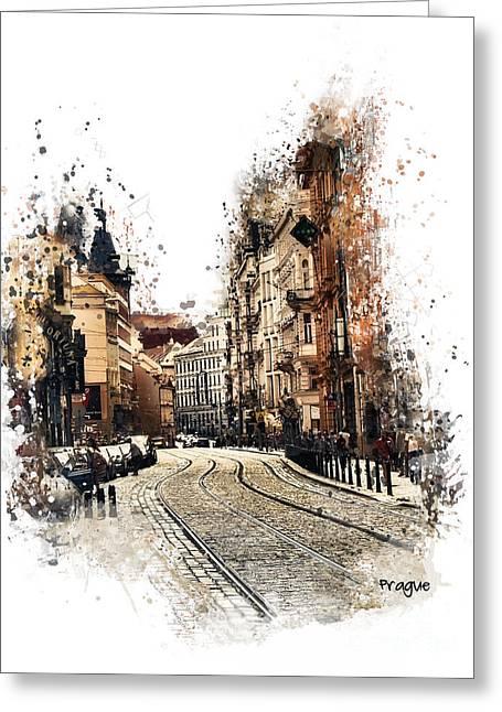 Town Mixed Media Greeting Cards - Prague street art Greeting Card by Justyna JBJart