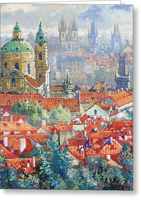 Prague Paintings Greeting Cards - Prague Summer Panorama 1 Greeting Card by Yuriy Shevchuk