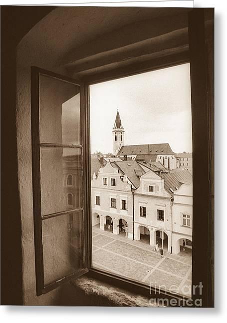 Artistic Photography Greeting Cards - Prague - Through a window Greeting Card by Giuseppe Mauro Panzani