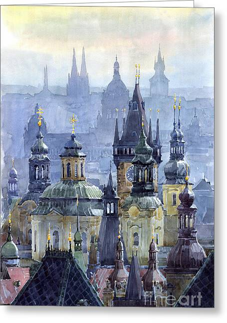 Buildings Paintings Greeting Cards - Prague Towers Greeting Card by Yuriy  Shevchuk