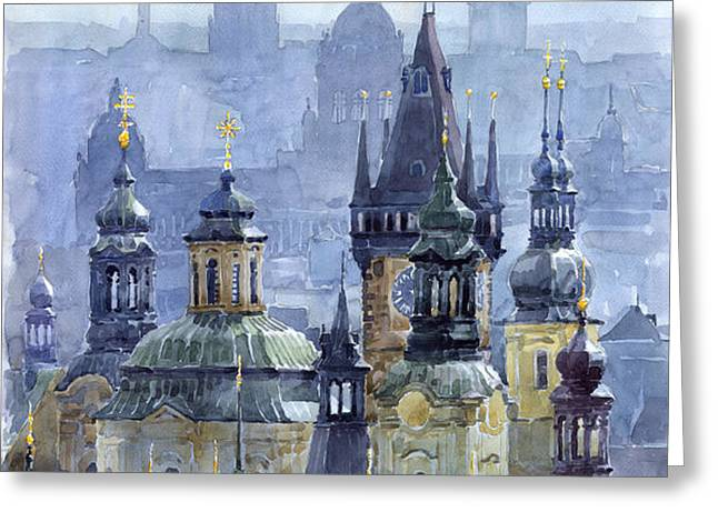 Prague Towers Greeting Card by Yuriy  Shevchuk