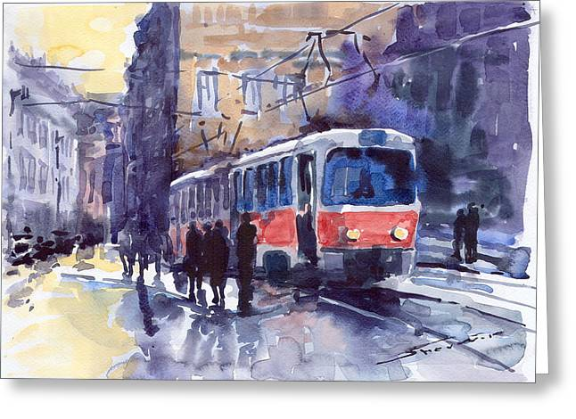 Streetscape Paintings Greeting Cards - Prague Tram 02 Greeting Card by Yuriy  Shevchuk