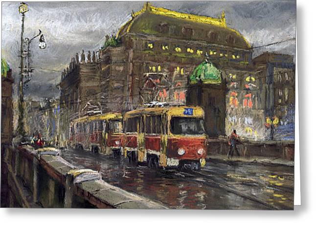 Theatres Greeting Cards - Prague Tram Legii Bridge National Theatre Greeting Card by Yuriy  Shevchuk