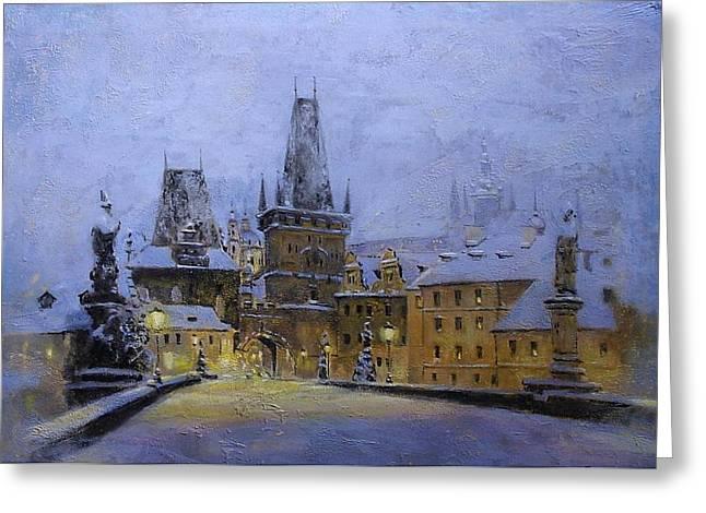Prague Paintings Greeting Cards - Prague Greeting Card by Vladimir Troitsky