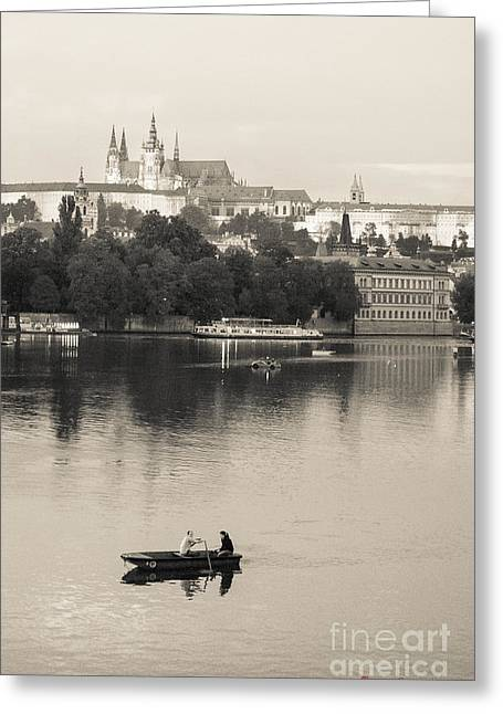 Artistic Photography Greeting Cards - Prague - Vltava River and the Castle Greeting Card by Giuseppe Mauro Panzani