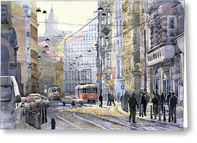 Tram Red Greeting Cards - Prague Vodickova str Greeting Card by Yuriy  Shevchuk