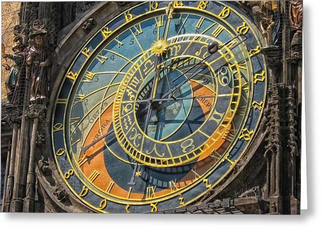 Astronomical Clock Greeting Cards - Pragues Historic Astronomical Clock Greeting Card by Vlada11