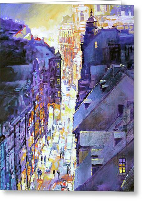 Praha Mostecka Str. Winter Evening Greeting Card by Yuriy Shevchuk