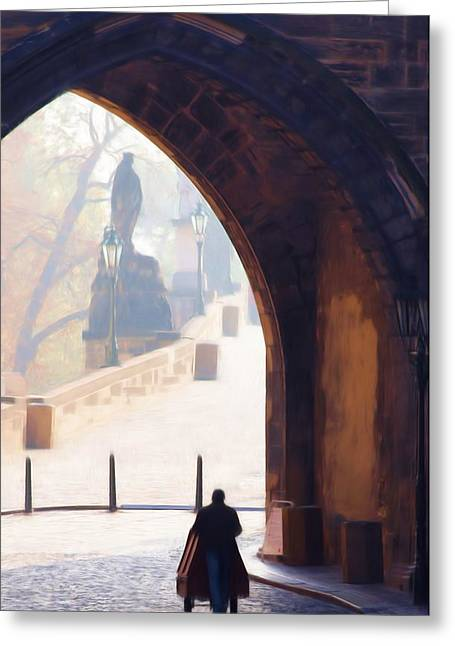 Prague Castle Digital Greeting Cards - Praha Push Cart Artist Greeting Card by Shawn Wallwork