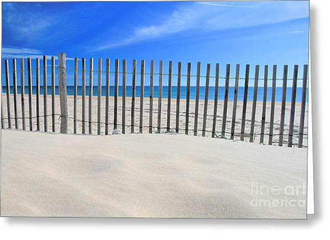 Sand Fences Greeting Cards - Praia do Cabeco Greeting Card by Carl Whitfield
