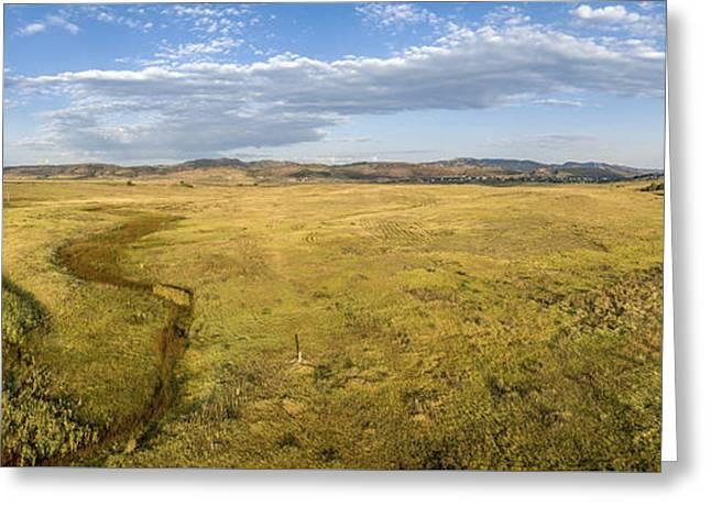 prairie at Colorado foothills - aerial panorama Greeting Card by Marek Uliasz
