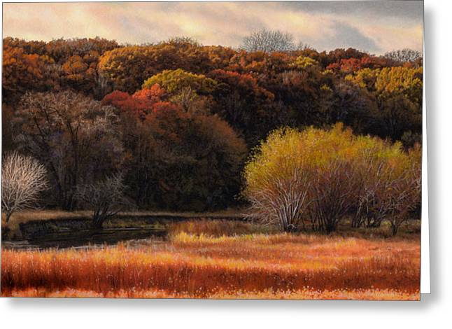 Autumn Landscape Drawings Greeting Cards - Prairie Autumn Stream Greeting Card by Bruce Morrison