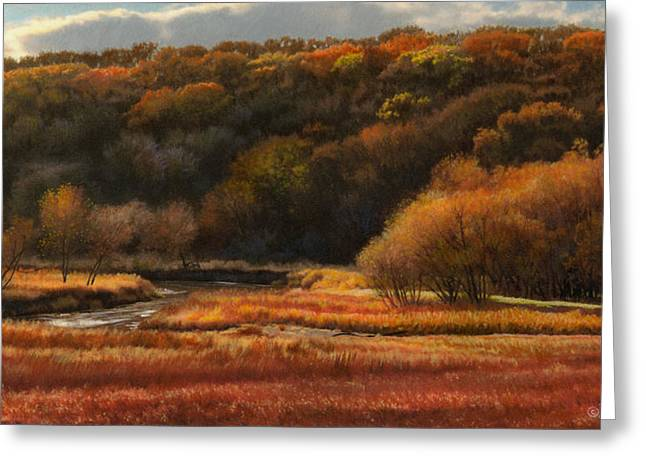 Autumn Landscape Drawings Greeting Cards - Prairie Autumn Stream No.2 Greeting Card by Bruce Morrison