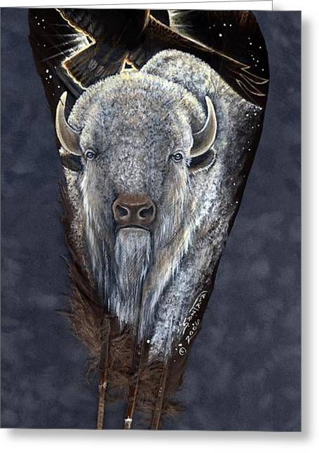 Buffalo Mixed Media Greeting Cards - Prairie Eclipse Greeting Card by Sandra SanTara
