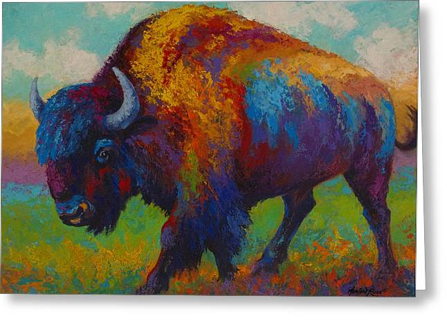 Prairie Greeting Cards - Prairie Muse - Bison Greeting Card by Marion Rose