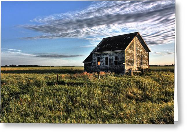 Red School House Greeting Cards - Prairie one room school Greeting Card by David Matthews