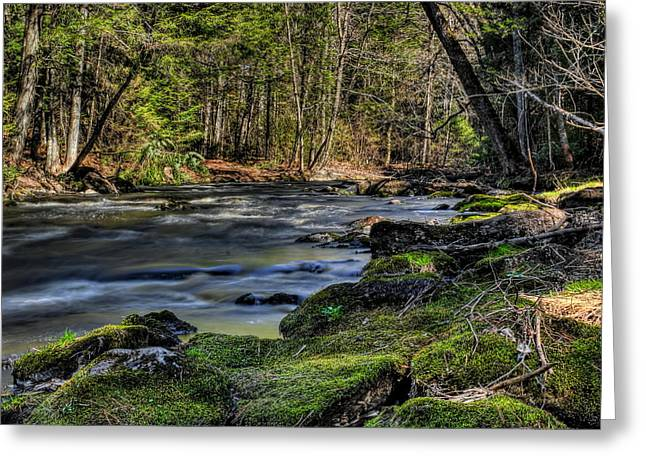 Square Format Greeting Cards - Prairie River Mossy Rocks Greeting Card by Dale Kauzlaric