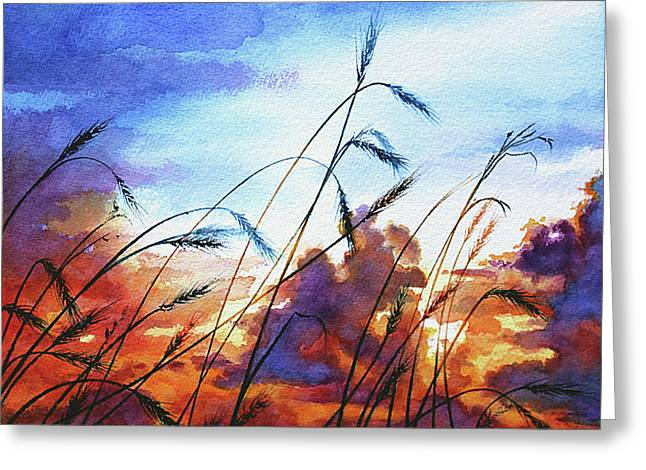 Prairie Sunset Landscape Art Print Greeting Cards - Prairie Sky Greeting Card by Hanne Lore Koehler