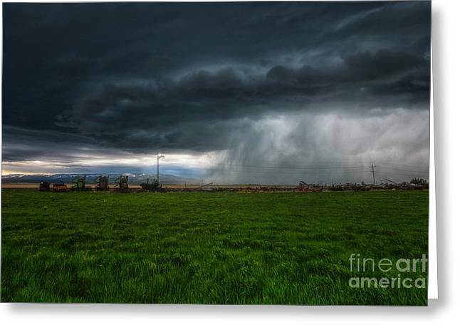 Field. Cloud Greeting Cards - Prairie Squall II Greeting Card by Jamie Tipton
