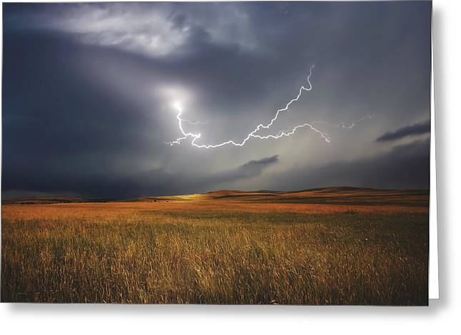 Stormy Weather Greeting Cards - Prairie Storm Greeting Card by Brin Weins