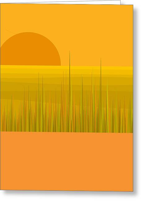 Minimalist Landscape Greeting Cards - Prairie  Sundown Greeting Card by Val Arie