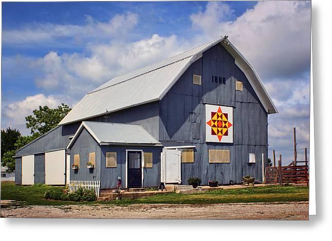 Prairie Sunrise - Quilt Barn - Nebraska Greeting Card by Nikolyn McDonald
