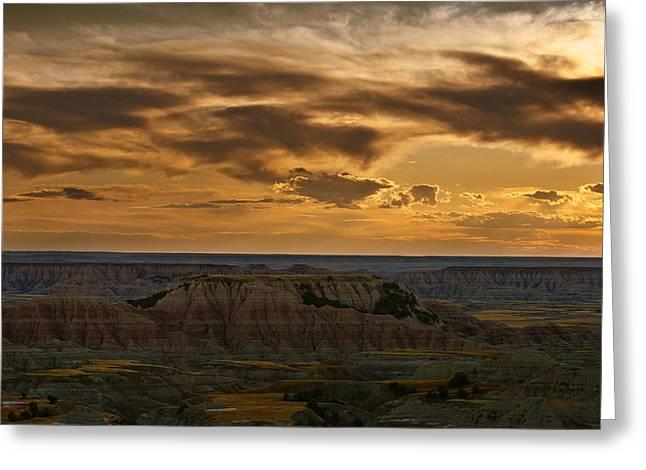 Formation Greeting Cards - Prairie Wind Overlook Badlands South Dakota Greeting Card by Steve Gadomski