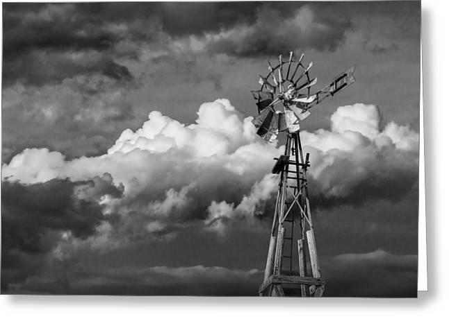 Randy Greeting Cards - Prairie Windmill Greeting Card by Randall Nyhof