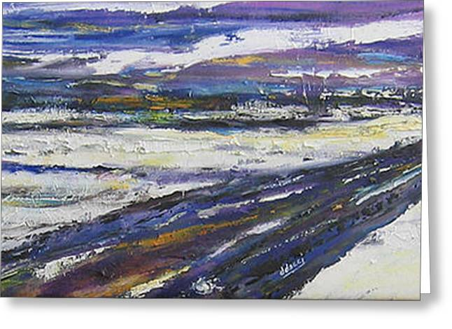 Winter Roads Mixed Media Greeting Cards - Prairie Winter Road Greeting Card by Debora Cardaci