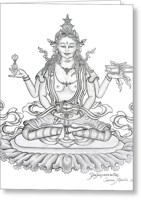 Bodhisatva Greeting Cards - Prajnaparamita -Perfection of Wisdom Greeting Card by Carmen Mensink