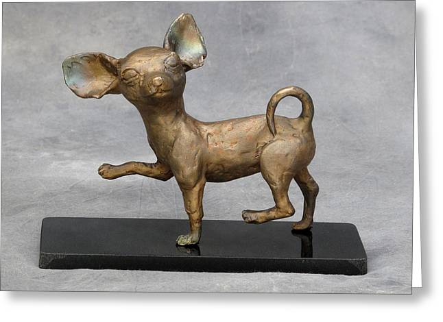 Pet Sculptures Greeting Cards - Prancing Greeting Card by Karen  Peterson