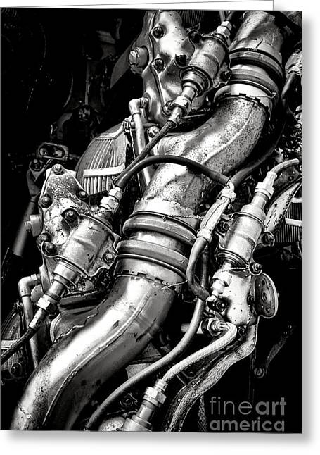 Vintage Aircraft Greeting Cards - Pratt and Whitney Engine Greeting Card by Olivier Le Queinec