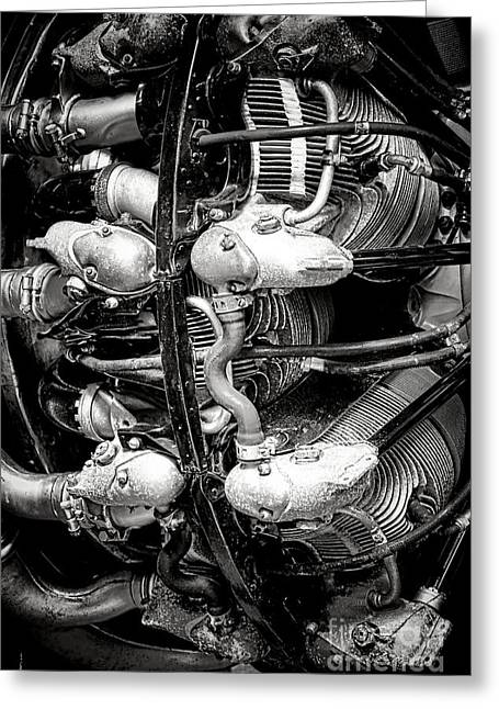 Power Plants Greeting Cards - Pratt and Whitney Twin Wasp Greeting Card by Olivier Le Queinec