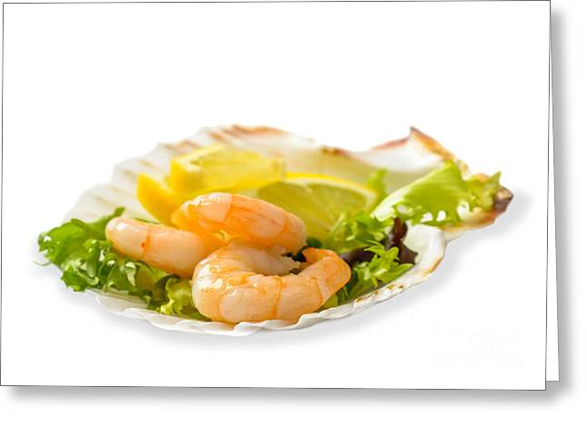 Lettuce Greeting Cards - Prawn Salad With Lemon Greeting Card by Amanda And Christopher Elwell