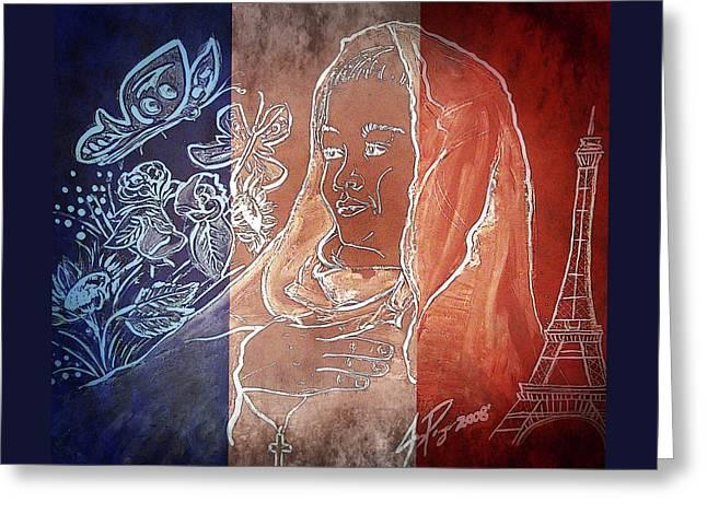 Pray 4 France Greeting Card by Jennifer Page