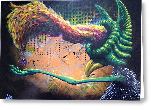 Hallucination Greeting Cards - Pray for Feathers Greeting Card by Eric Tresback