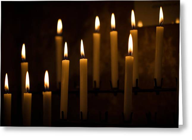 Candle Lit Greeting Cards - Prayer Candles Greeting Card by Clare Bambers
