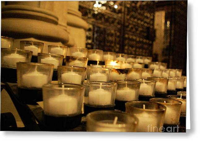 Candle Lit Greeting Cards - Prayer Candles  Greeting Card by John S