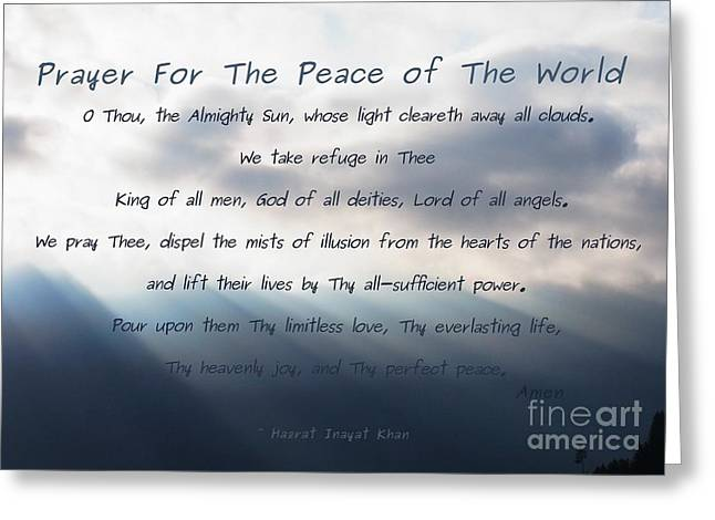 Prayer For The Peace Of The World Greeting Card by Agnieszka Ledwon