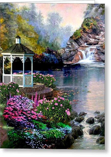 A Summer Evening Paintings Greeting Cards - Prayer Garden Greeting Card by Ronald Chambers