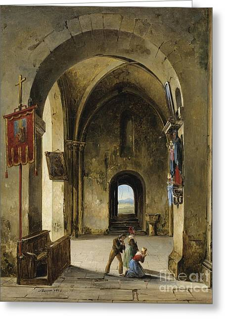 The Church Greeting Cards - Prayer In The Church Greeting Card by Charles-caius Renoux