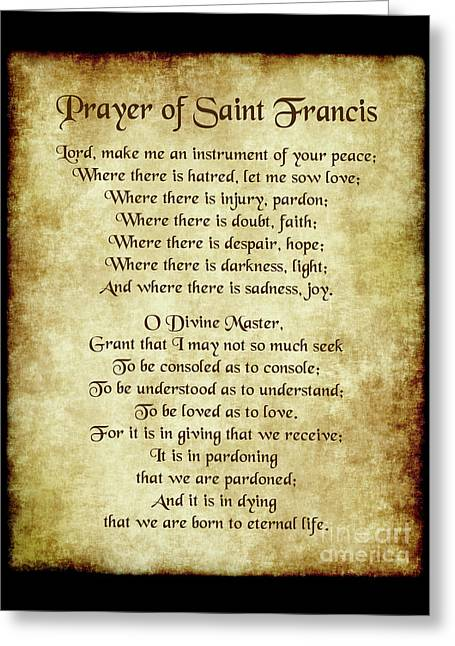 Prayer Of St Francis - Antique Parchment Greeting Card by Ginny Gaura
