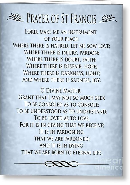 Prayer Of St Francis - Pope Francis Prayer - Blue-grey Parchment Greeting Card by Ginny Gaura