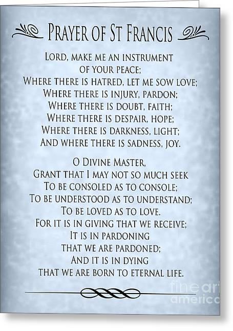 St Francis Peace Prayer Greeting Cards - Prayer of St Francis - Blue-Grey Parchment  Greeting Card by Ginny Gaura