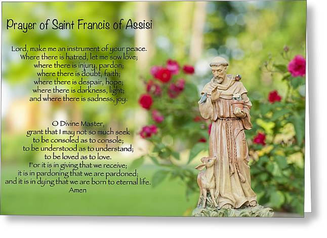Prayer Greeting Cards - Prayer of St. Francis of Assisi Greeting Card by Bonnie Barry