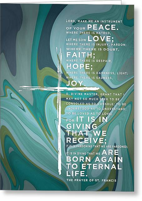 Prayer Of St. Francis Of Assisi Greeting Card by Leslie Fuqua
