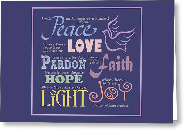 Prayer Of St Francis - Square Pastel Typographic Greeting Card by Ginny Gaura